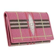 Розовая в клетку визитница для своих визиток из кожи ската