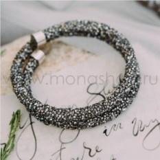 Браслет-колье «Звездная пыль» с черными кристаллами