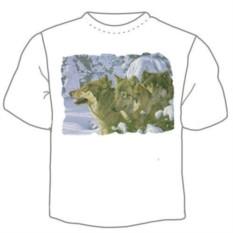 Мужская футболка Волки в зимнем лесу