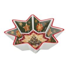 Салатник Christmas collection с зеленым рисунком