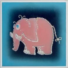 Картина с кристаллами Swarovski Розовый слоник