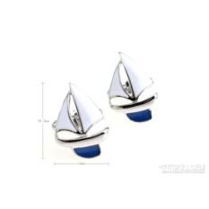 Запонки Яхта в именной коробке с гравировкой