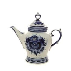 Керамический чайник с Гжельской росписью Юность