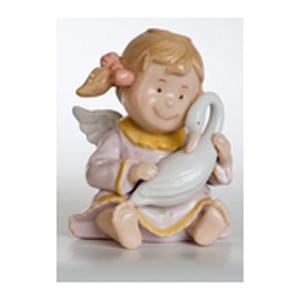 Фарфоровая статуэтка  «Ангелочек с лебедем»