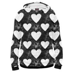Женское худи Черно-белые сердца