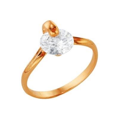 Позолоченное женское кольцо крупным фианитом