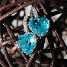 Серьги «Холодное сердце» с голубыми циркониями
