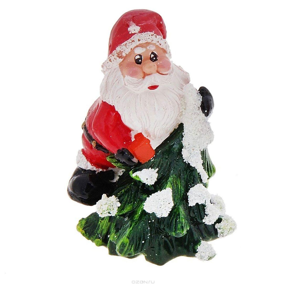 Свеча декоративная Дед мороз с подарком и с елочкой