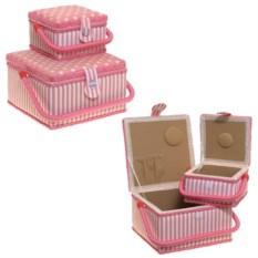 Набор из 2 розовых шкатулок для рукоделия