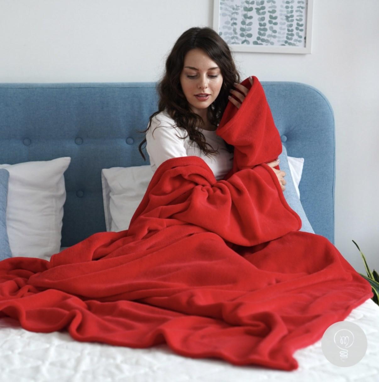 Красный плед с рукавами Sleepy Original