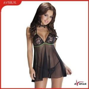 Платье, стринги, черное, прозрачное