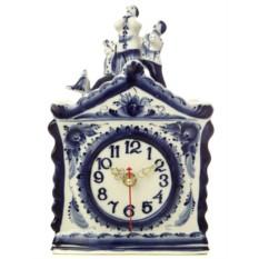 Часы с художественной росписью Гжель На крыше