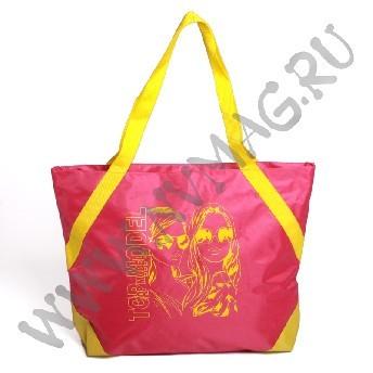 Розовая пляжная сумка