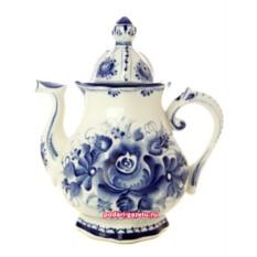 Чайник Гжель заварочный керамический, роспись Юбилейный