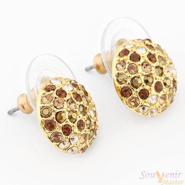 Серьги-гвоздики с кристаллами Swarovski Кабашон, золото