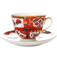 Фарфоровая чайная чашка с блюдцем Красный конь