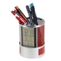 Подставка под канцелярию с часами, датой и термометром