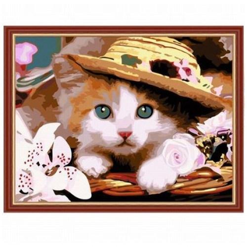 Картина-раскраска по номерам на холсте В шляпе