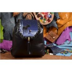 Женский кожаный черный рюкзак Волшебная сказка