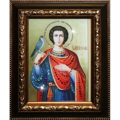 Малая икона с кристаллами Swarovski Святой Трифон