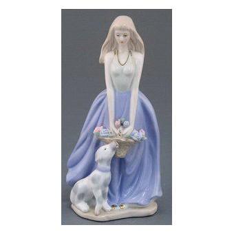 Статуэтка «Дама с цветами и собакой»
