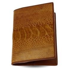 Светло-коричневая обложка для паспорта из кожи страуса