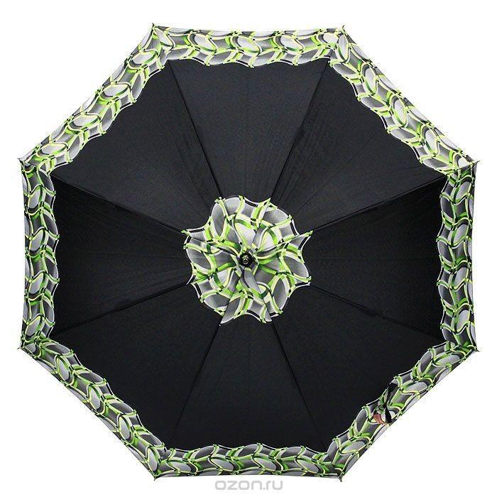 Женский черный зонт-трость полуавтомат Edmins