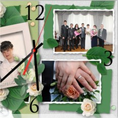 Настенные часы Свадебный коллаж