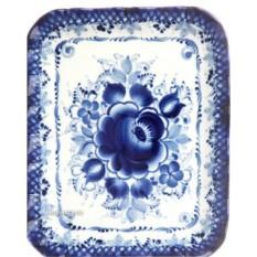 Прямоугольный поднос с художественной росписью Гжель №3