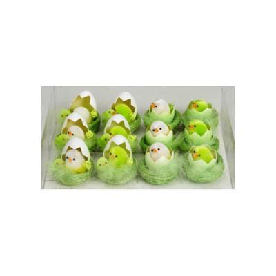 Гнездо с цыпленком в яйце зеленое
