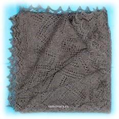 Оренбургский платок, ажурный, пуховый, серый