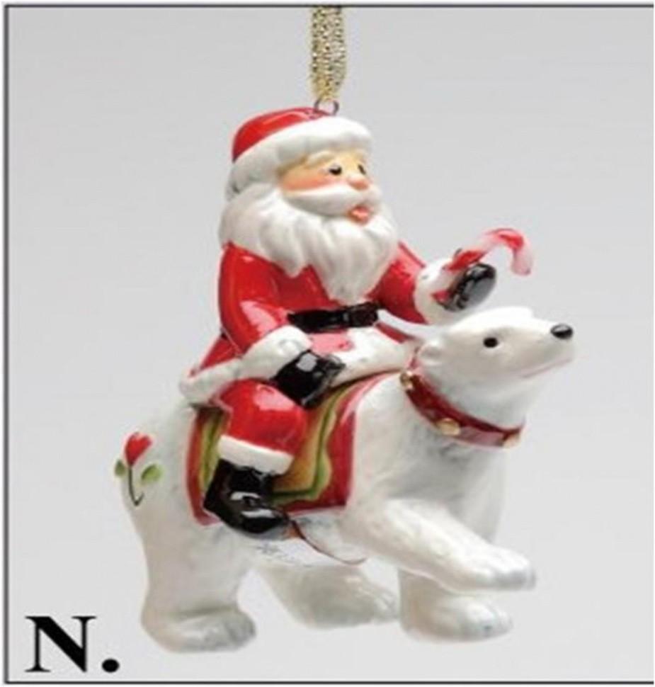 Елочная игрушка Дед мороз на медведе