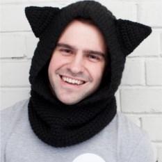 Вязаный снуд с капюшоном Черный кот
