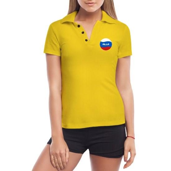 Желтая женская футболка поло Алла