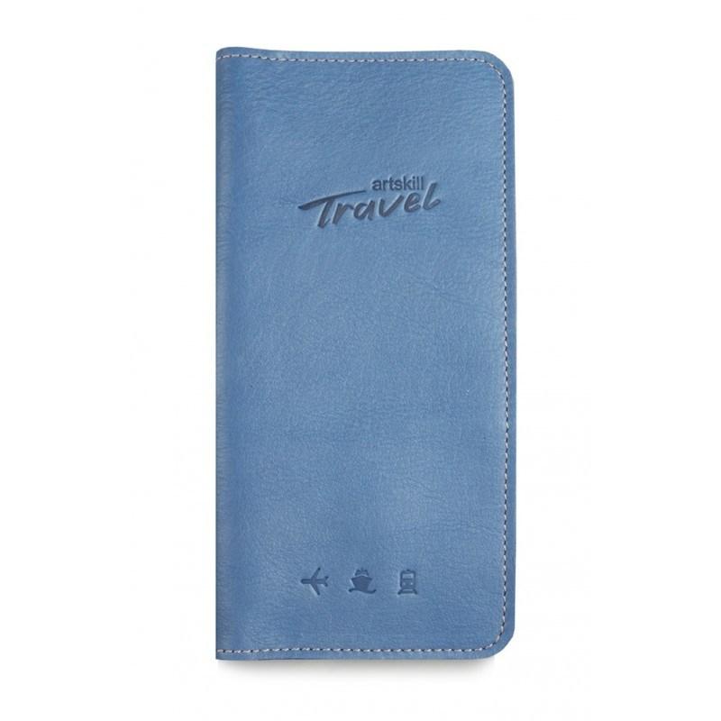 Холдер кожаный для документов Artskill Travel (голубой)