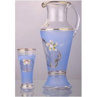Набор для воды или сока «Голубой, золотая сетка»