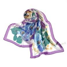 Женский шарф с фиолетовой каймой и цветами Laura Biagiotti
