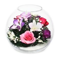 Композиция из роз и орхидей в стекле