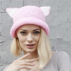 Розовая летняя шляпа с ушками из рафии