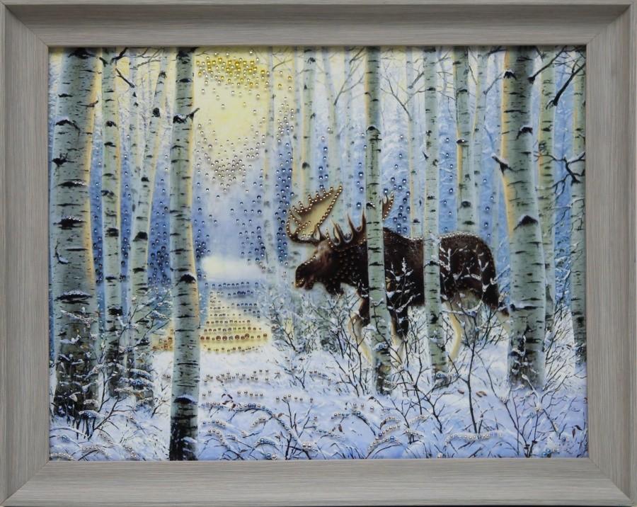 Картина с кристаллами Swarovski Зимний лес