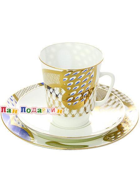 Комплект кофейный: чашка и два блюдца Лазурный мотив