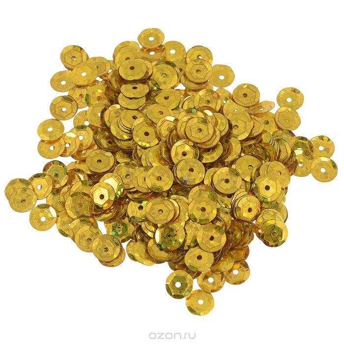 Граненые пайетки Астра, с голограммой, золотистые, 6 мм