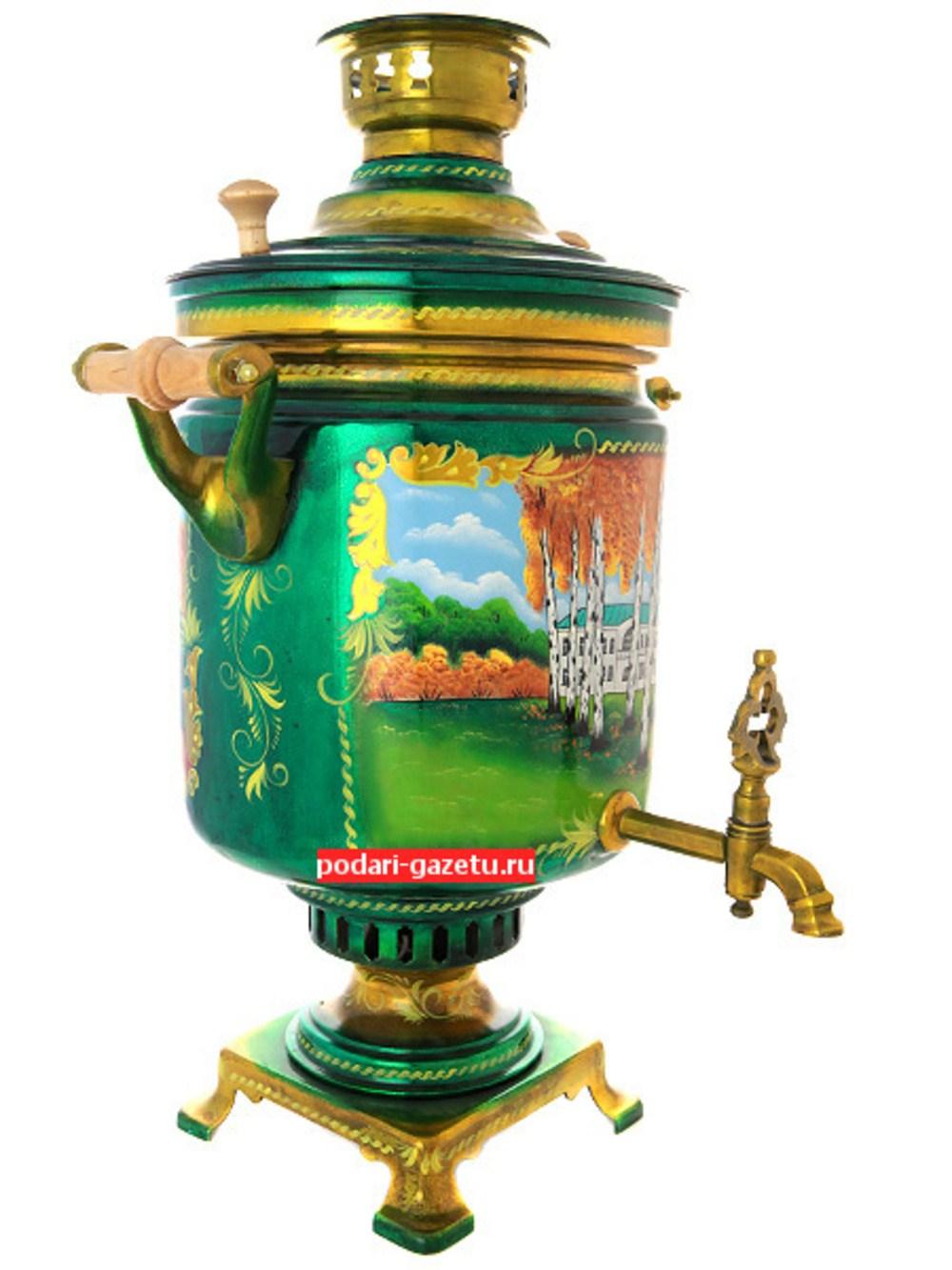 Электрический самовар на 7 литров с художественной росписью Ясная поляна, форма цилиндр