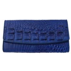 Женский синий кошелек из кожи крокодила