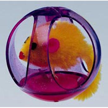 Игрушка для кошек: мышь в пластиковом шаре