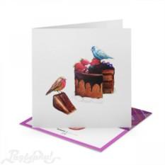 Открытка Птички и торт