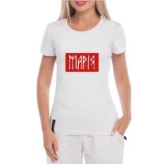 Белая именная женская футболка Красный квадрат