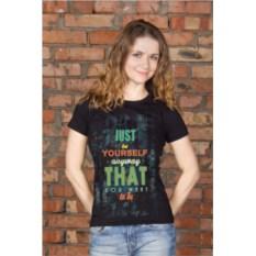 Черная женская именная футболка Just be