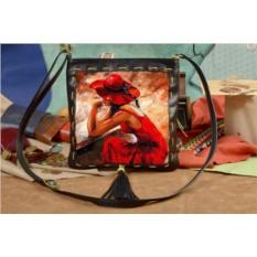 Женская сумка-планшет с принтом Девушка в красном