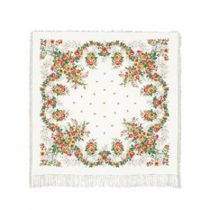 Павлопосадский шелковый платок с рисунком Первое свидание